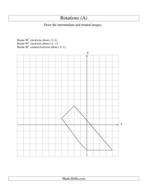 The Three-Step Rotation of 5 Vertices around Any Point (All) Math Worksheet