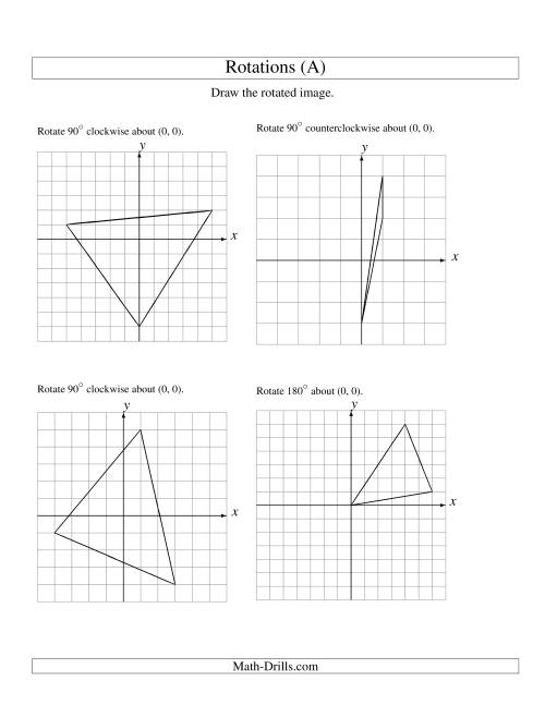 The Rotation of 3 Vertices around the Origin (A) Math Worksheet