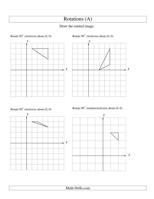 The Rotation of 3 Vertices around the Origin Starting in Quadrant I (A) Math Worksheet