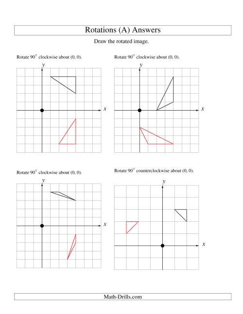 The Rotation of 3 Vertices around the Origin Starting in Quadrant I (A) Math Worksheet Page 2