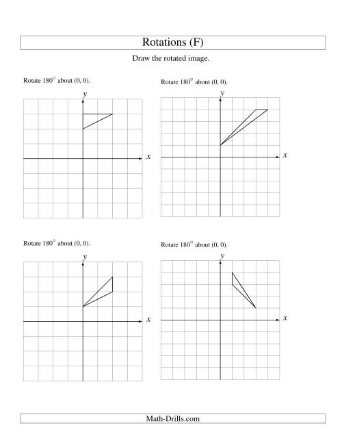 The Rotation of 3 Vertices around the Origin Starting in Quadrant I (F) Math Worksheet
