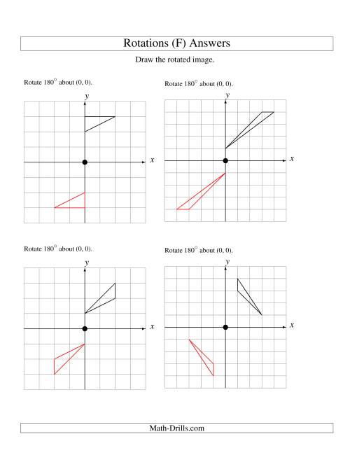 The Rotation of 3 Vertices around the Origin Starting in Quadrant I (F) Math Worksheet Page 2
