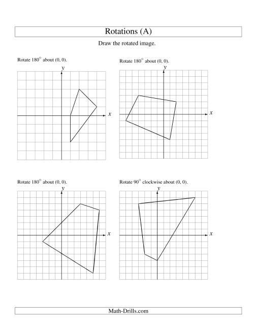 Rotation of 4 Vertices around the Origin A – Geometric Transformations Worksheet