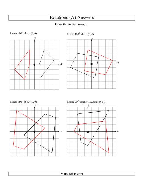 The Rotation of 4 Vertices around the Origin (A) Math Worksheet Page 2
