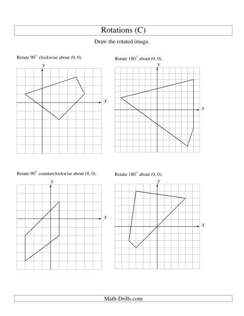 The Rotation of 4 Vertices around the Origin (C) Math Worksheet