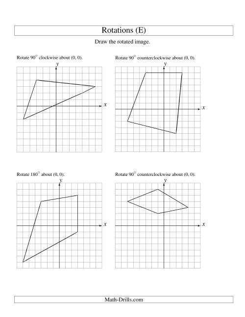 The Rotation of 4 Vertices around the Origin (E) Math Worksheet