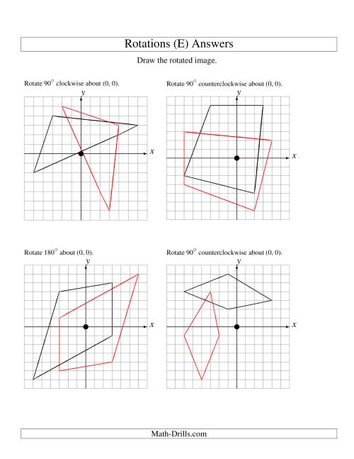 The Rotation of 4 Vertices around the Origin (E) Math Worksheet Page 2