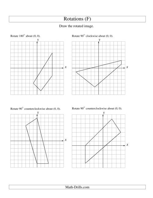 The Rotation of 4 Vertices around the Origin (F) Math Worksheet