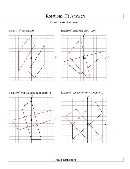 The Rotation of 4 Vertices around the Origin (F) Math Worksheet Page 2
