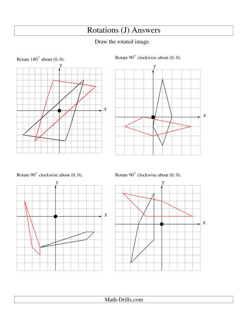 The Rotation of 4 Vertices around the Origin (J) Math Worksheet Page 2