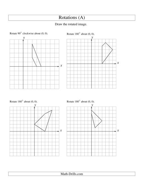 The Rotation of 4 Vertices around the Origin Starting in Quadrant I (A) Geometry Worksheet