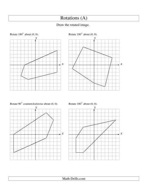 The Rotation of 5 Vertices around the Origin (A) Math Worksheet