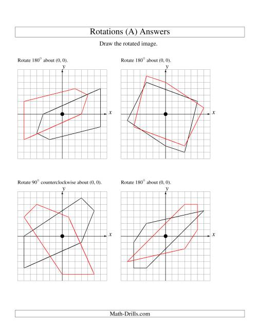 The Rotation of 5 Vertices around the Origin (A) Math Worksheet Page 2