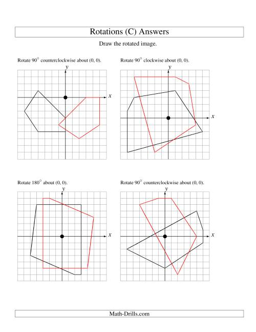 The Rotation of 5 Vertices around the Origin (C) Math Worksheet Page 2