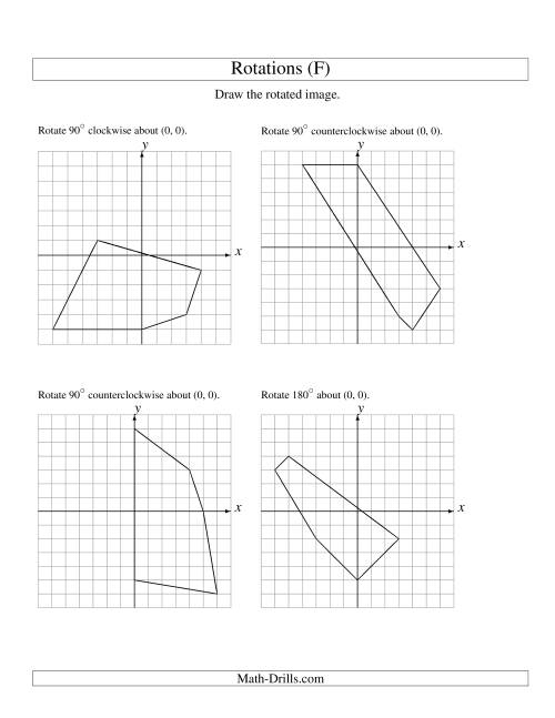 The Rotation of 5 Vertices around the Origin (F) Math Worksheet