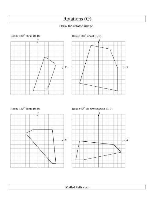 The Rotation of 5 Vertices around the Origin (G) Math Worksheet