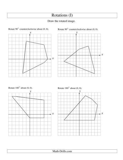 The Rotation of 5 Vertices around the Origin (I) Math Worksheet