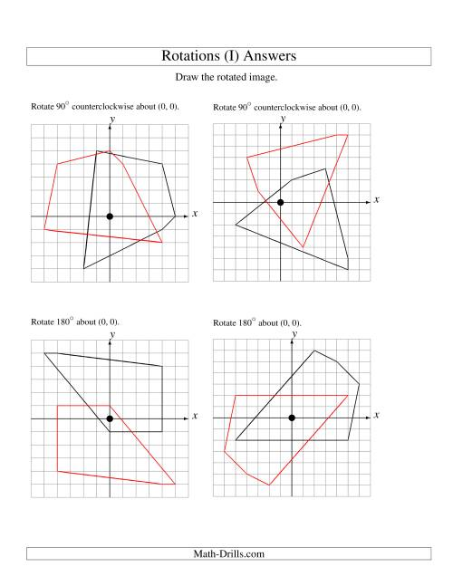 The Rotation of 5 Vertices around the Origin (I) Math Worksheet Page 2