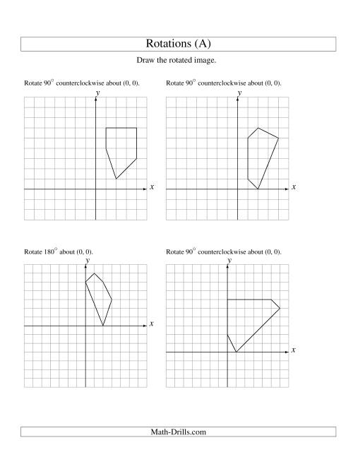 The Rotation of 5 Vertices around the Origin Starting in Quadrant I (A) Math Worksheet