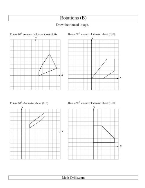 The Rotation of 5 Vertices around the Origin Starting in Quadrant I (B) Math Worksheet