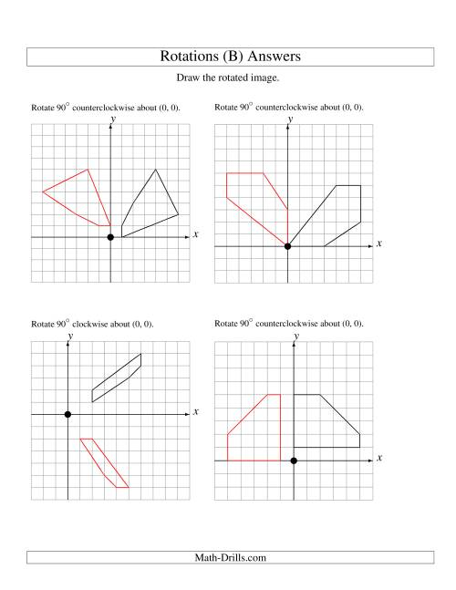The Rotation of 5 Vertices around the Origin Starting in Quadrant I (B) Math Worksheet Page 2