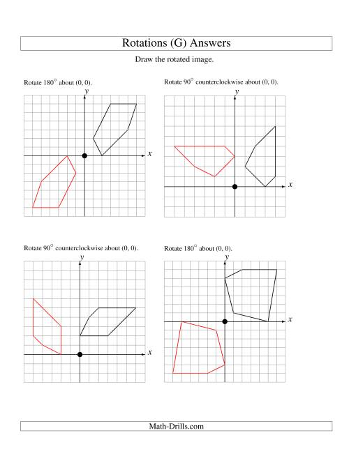 The Rotation of 5 Vertices around the Origin Starting in Quadrant I (G) Math Worksheet Page 2