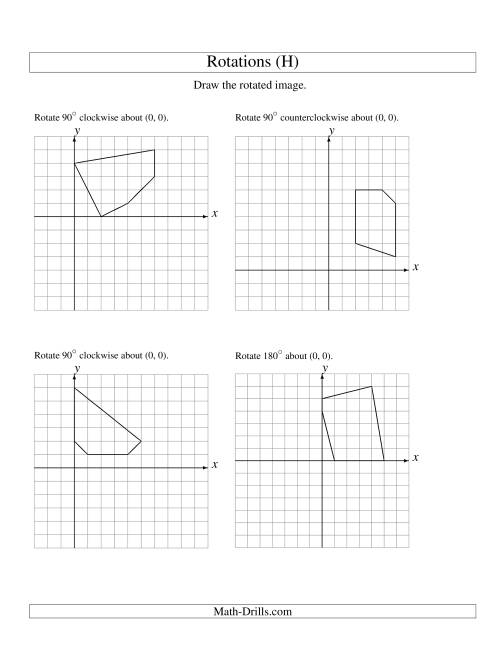 The Rotation of 5 Vertices around the Origin Starting in Quadrant I (H) Math Worksheet