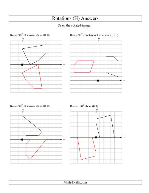The Rotation of 5 Vertices around the Origin Starting in Quadrant I (H) Math Worksheet Page 2