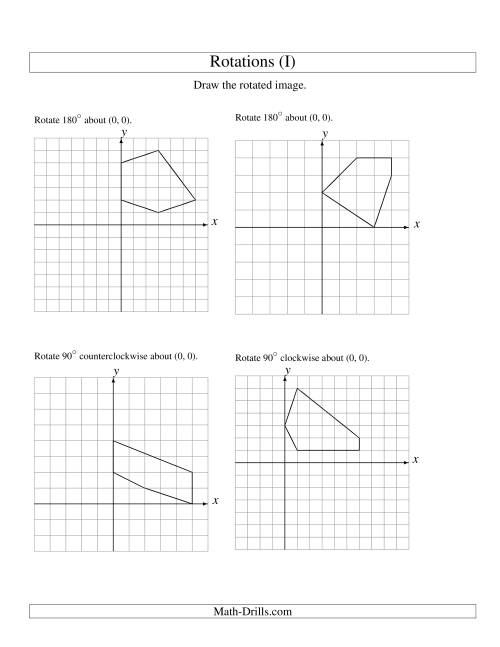The Rotation of 5 Vertices around the Origin Starting in Quadrant I (I) Math Worksheet