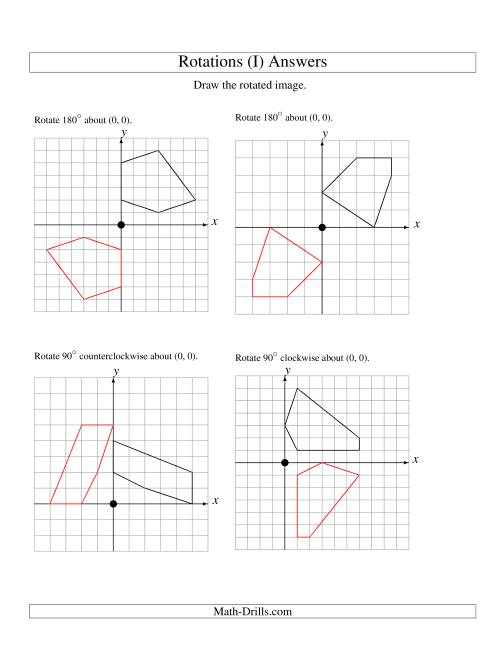 The Rotation of 5 Vertices around the Origin Starting in Quadrant I (I) Math Worksheet Page 2
