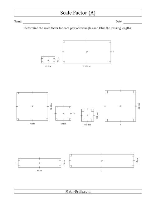 The Determine the Scale Factor Between Two Rectangles and Determine the Missing Lengths (Scale Factors in Intervals of 0.5) (A) Math Worksheet