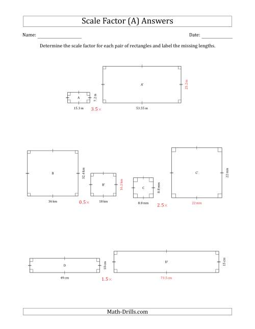 The Determine the Scale Factor Between Two Rectangles and Determine the Missing Lengths (Scale Factors in Intervals of 0.5) (A) Math Worksheet Page 2