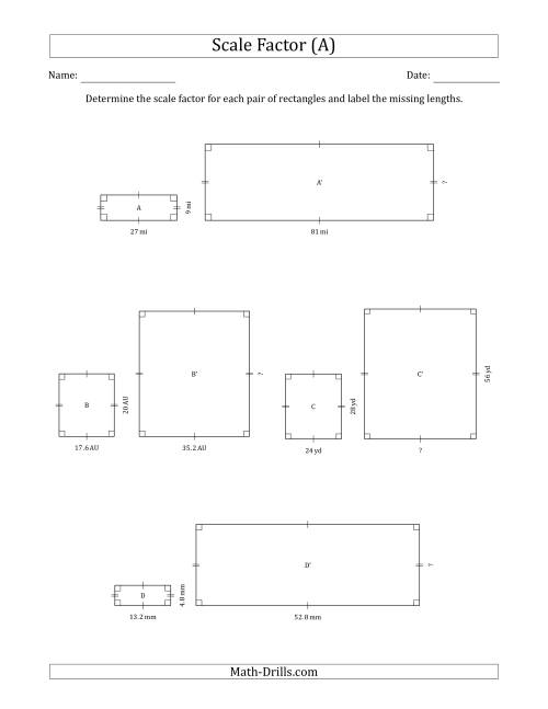 The Determine the Scale Factor Between Two Rectangles and Determine the Missing Lengths (Whole Number Scale Factors) (A) Math Worksheet