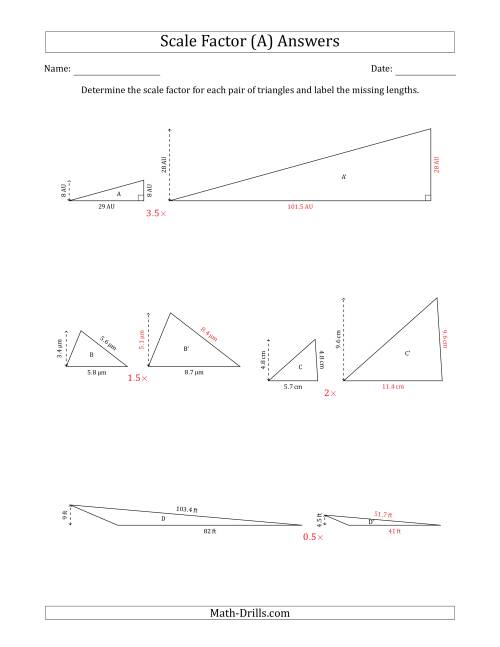 The Determine the Scale Factor Between Two Triangles and Determine the Missing Lengths (Scale Factors in Increments of 0.5) (A) Math Worksheet Page 2