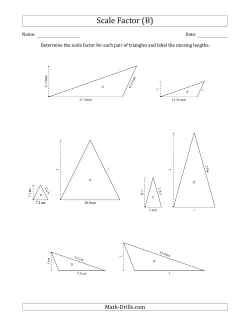 The Determine the Scale Factor Between Two Triangles and Determine the Missing Lengths (Scale Factors in Increments of 0.5) (B) Math Worksheet