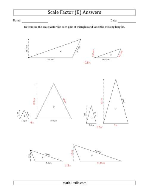 The Determine the Scale Factor Between Two Triangles and Determine the Missing Lengths (Scale Factors in Increments of 0.5) (B) Math Worksheet Page 2