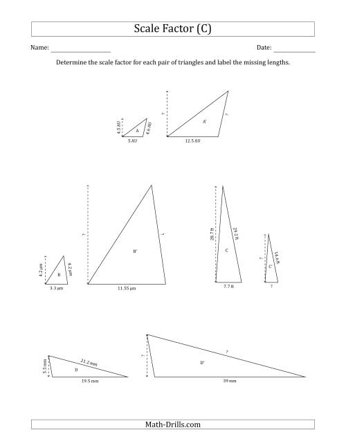 The Determine the Scale Factor Between Two Triangles and Determine the Missing Lengths (Scale Factors in Increments of 0.5) (C) Math Worksheet