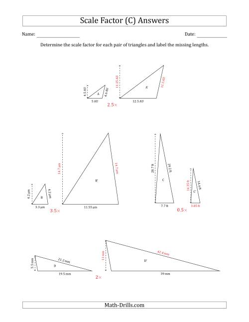 The Determine the Scale Factor Between Two Triangles and Determine the Missing Lengths (Scale Factors in Increments of 0.5) (C) Math Worksheet Page 2