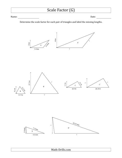 The Determine the Scale Factor Between Two Triangles and Determine the Missing Lengths (Scale Factors in Increments of 0.5) (G) Math Worksheet