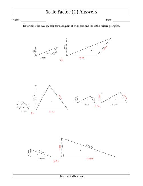 The Determine the Scale Factor Between Two Triangles and Determine the Missing Lengths (Scale Factors in Increments of 0.5) (G) Math Worksheet Page 2