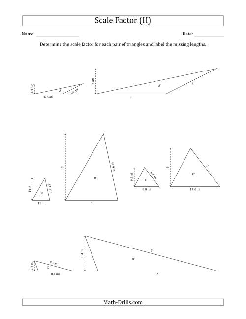 The Determine the Scale Factor Between Two Triangles and Determine the Missing Lengths (Scale Factors in Increments of 0.5) (H) Math Worksheet