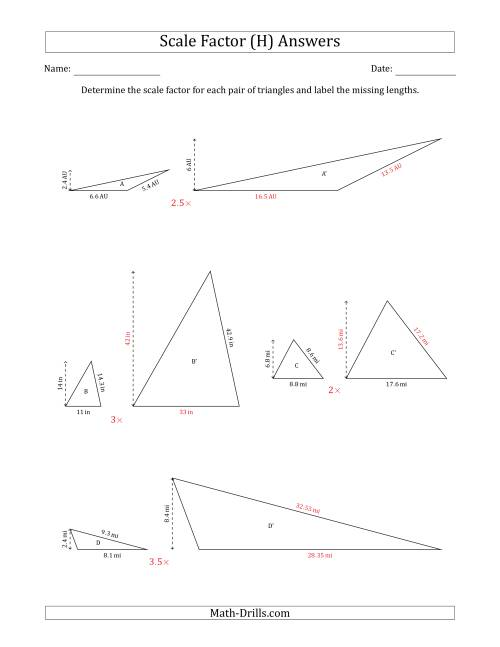 The Determine the Scale Factor Between Two Triangles and Determine the Missing Lengths (Scale Factors in Increments of 0.5) (H) Math Worksheet Page 2