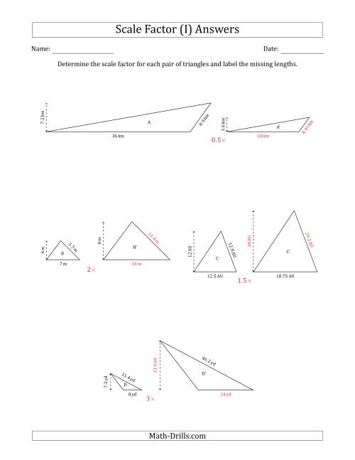 The Determine the Scale Factor Between Two Triangles and Determine the Missing Lengths (Scale Factors in Increments of 0.5) (I) Math Worksheet Page 2