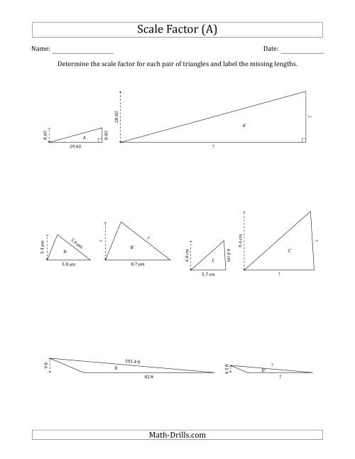 The Determine the Scale Factor Between Two Triangles and Determine the Missing Lengths (Scale Factors in Increments of 0.5) (All) Math Worksheet