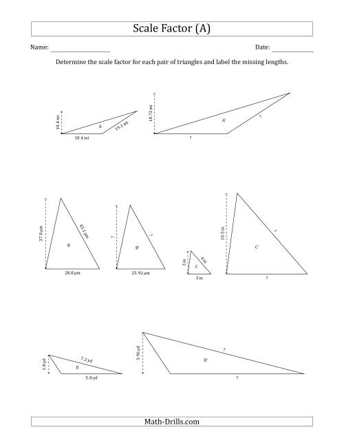 The Determine the Scale Factor Between Two Triangles and Determine the Missing Lengths (Scale Factors in Increments of 0.1) (A) Math Worksheet