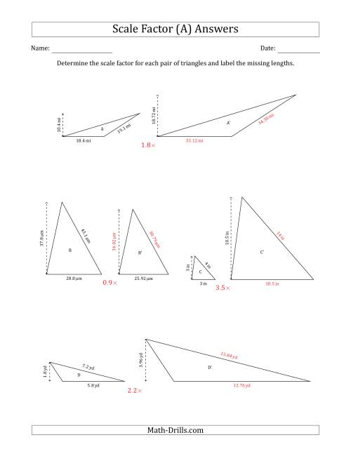 The Determine the Scale Factor Between Two Triangles and Determine the Missing Lengths (Scale Factors in Increments of 0.1) (A) Math Worksheet Page 2