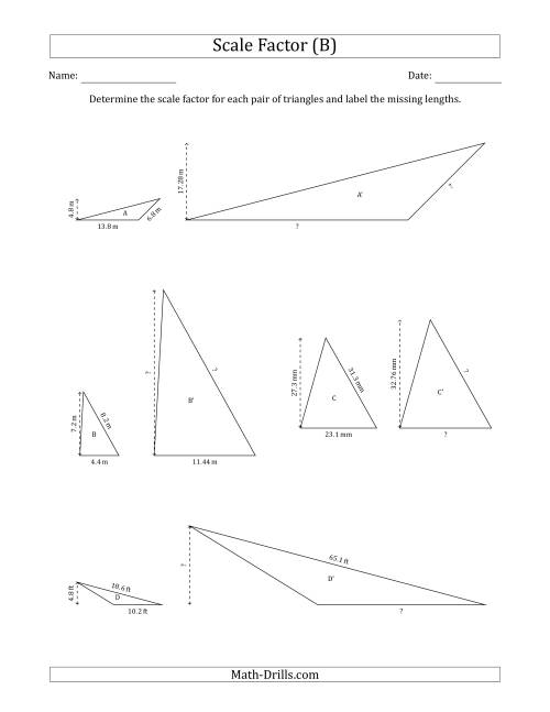 The Determine the Scale Factor Between Two Triangles and Determine the Missing Lengths (Scale Factors in Increments of 0.1) (B) Math Worksheet
