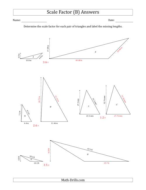 The Determine the Scale Factor Between Two Triangles and Determine the Missing Lengths (Scale Factors in Increments of 0.1) (B) Math Worksheet Page 2