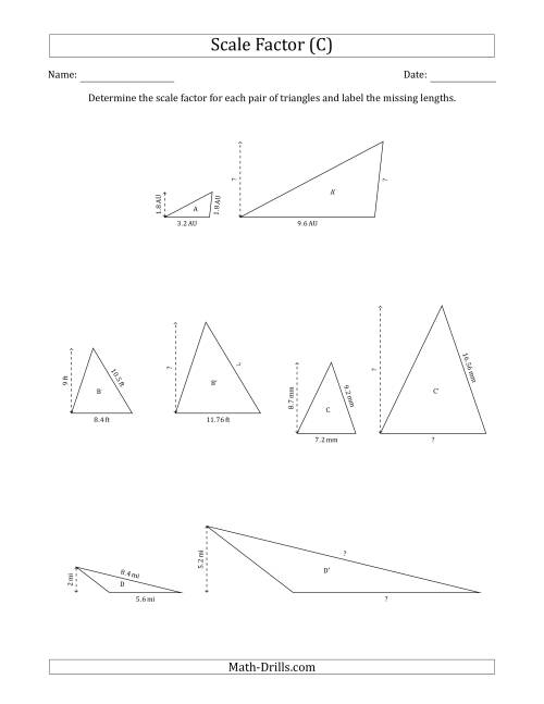 The Determine the Scale Factor Between Two Triangles and Determine the Missing Lengths (Scale Factors in Increments of 0.1) (C) Math Worksheet