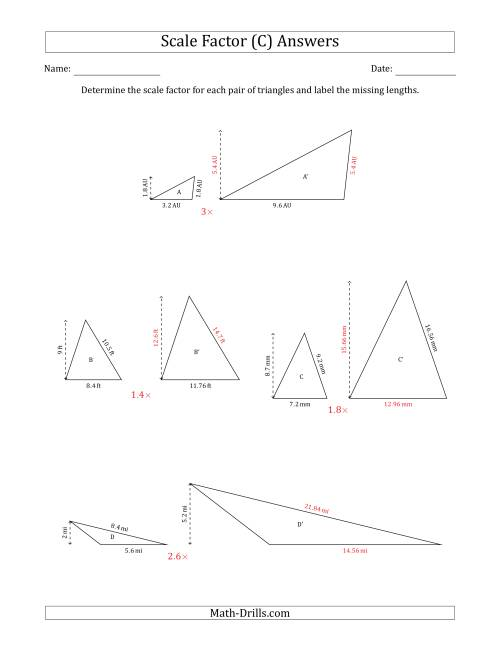 The Determine the Scale Factor Between Two Triangles and Determine the Missing Lengths (Scale Factors in Increments of 0.1) (C) Math Worksheet Page 2